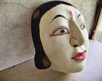 Large Vintage Balinese Carved Wood Mask Wall Hanging Balinese Topeng Drama Mask Indonesia Folk Art