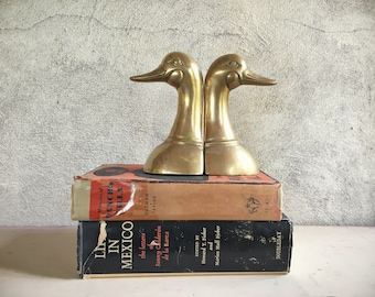 Pair of vintage brass duck bookends midcentury brass decor hunter gift library decor