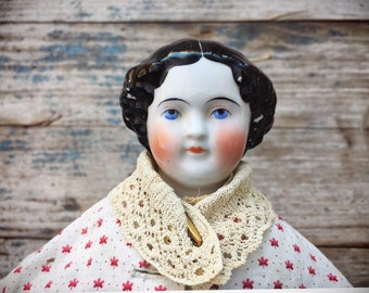 "22"" Civil War Era China Head Doll Lady with Handmade Cloth Body and Clothing Original Buttons"