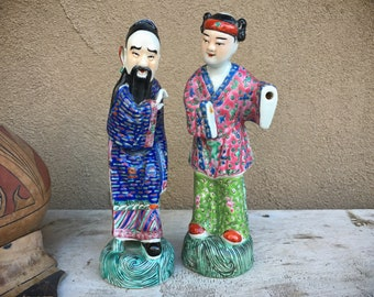Vintage Famille Rose Porcelain Chinese Immortals Figurines with Removable Hands (Hands Missing)