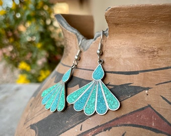 Crushed Turquoise Inlay Fan Earrings on Alpaca German Silver Dangles, Vintage Mexican Jewelry