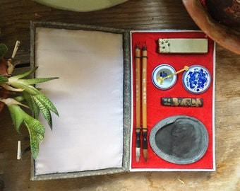 1990s Calligraphy Kit from China with Basin Brushes and Paper Stone Inkstone, Calligraphy Tools