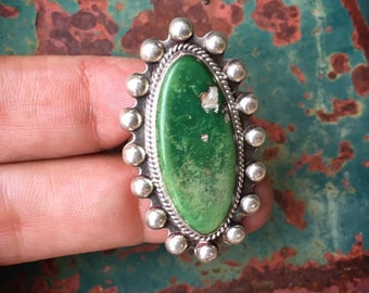 Fred Harvey Era Green Turquoise Ring for Women Size 6.75, Old Pawn Native American Indian Jewelry
