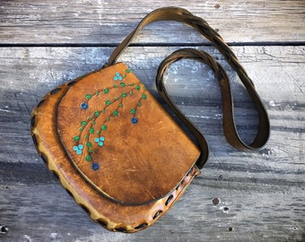 Small Mexican Tooled Leather Purse Painted Flowers Braided Strap, Southwestern Boho Hippie Bag