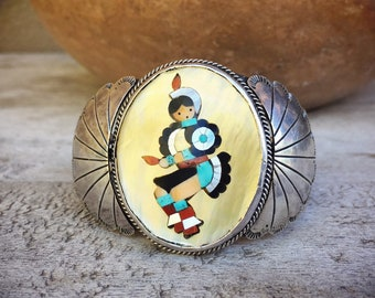 Vintage Mosaic Inlay Turquoise Cuff Bracelet for Small Wrist Mother of Pearl Kachina Jewelry