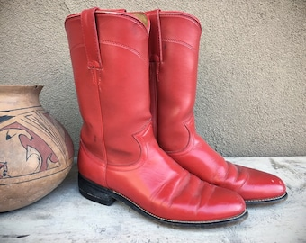 Vintage Women's Size 6.5 B Red Cowboy Boots for Women Ropers, Rockabilly Leather Boots