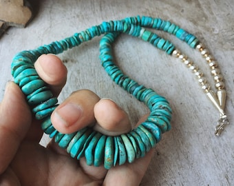 Chunky Turquoise Bead Disc Nugget Necklace for Women, Native American Indian Jewelry
