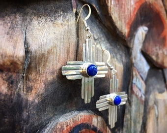 Lapis Lazuli Earrings for Women Sterling Silver Zia Cross, Native American Indian Jewelry, New Mexico Gifts