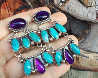 """2-1/4"""" Long Amethyst Turquoise Earrings for Women, Native America Indian Jewelry Sterling Silver"""