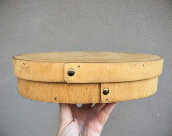 Small Flat Oval Shaker Box Made of Bentwood Finished with Brass Tacks, Pantry Container