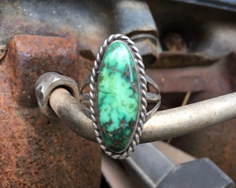 Vintage Damele Turquoise Sterling Silver Ring for Women Size 10.75, Native American Indian Jewelry