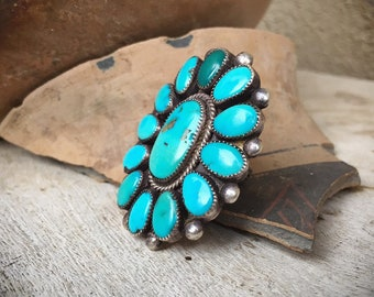 LARGE Vintage Zuni Natural Turquoise Ring for Women Size 8, Native America Indian Jewelry