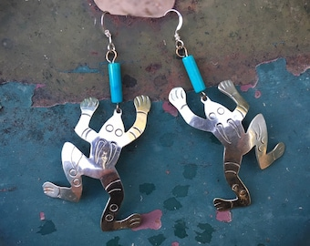 Mexican German Silver Frog or Toad Earrings with Turquoise Beads, Southwestern Fashion