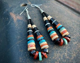 "3"" Turquoise Multistone Heishi Earrings by Santo Domingo Pula Calabaza, Native American Jewelry"