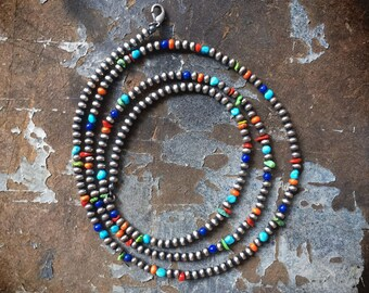 "36"" Long Silver and Multi-Stone Turquoise Bead Necklace for Woman, Native American Indian Jewelry"