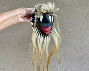 Carved and Painted Wood Pascola Mask by Yaqui Jose Matus, Ethnographic Folk Art, Wall Hanging