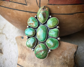 Huge Navajo Green Turquoise Cluster Ring for Women Size 7, Navajo Native American Indian Jewelry