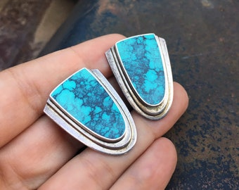Vintage Zuni Alice Leekya Homer Spiderweb Turquoise Sterling Silver Clip On Earrings Non-Pierced