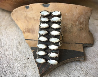Long Mother of Pearl Sterling Silver Ring Size 6.5, Zuni Native American Indian White Color Jewelry