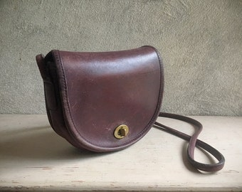 Vintage Coach Mini Crossbody Bag Burgundy Leather 645-6813, Boho Hippie Purse