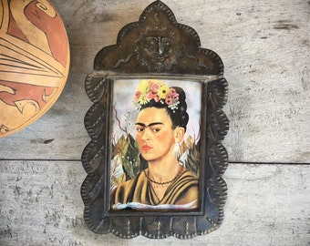 Vintage Mexican Tin Picture Frame with Frida Kahlo Book Print Wall Decor or Table Top