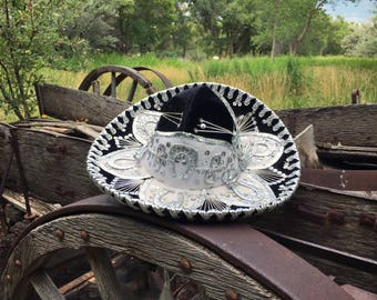 Vintage Child's Sombrero Authentic Mexican Mariachi Hat Black Velvet White Thread Silver Sequins, Mexican Sombrero Halloween Costume