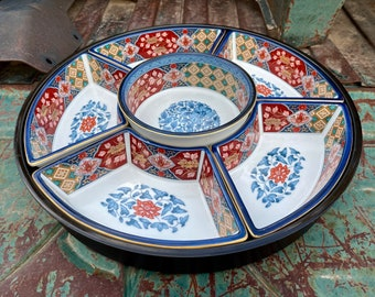 Vintage Japanese Imari Porcelain Snack Tray with Appetizer Bowls, Heavy Plastic Lazy Susan Holder