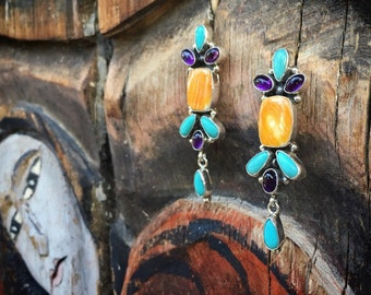Navajo Turquoise Earrings Spiny Oyster Amethyst Dangle Native America Indian Jewelry