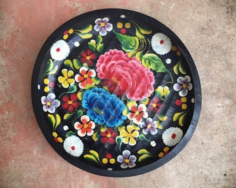 "Large 17"" Vintage Mexican Batea Hand Painted and Carved Wood Tray Decorative Plate, Southwestern Decor"