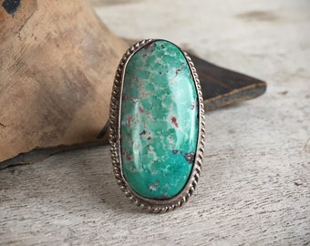 Simple Oval Turquoise Ring for Women Size 6, Old Pawn Navajo Native America Indian Jewelry, Girlfriend Gift for Her, December Birthstone