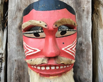 Carved and Painted Wood Mask from Guererro Mexico, Ethnographic Folk Art, Bohemian Wall Hanging