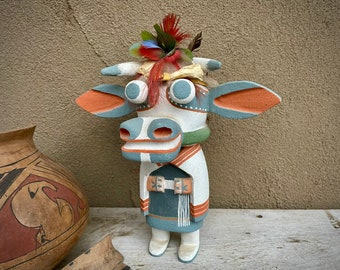 Hopi Hand Carved Painted Cow Mana Katsina Doll by Poleyestewa, Native American Indian Carving