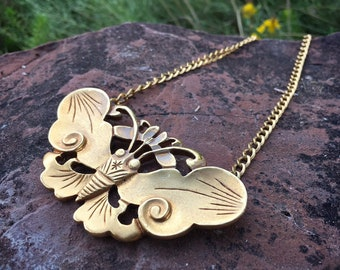 Large Gold-Plated Butterfly Choker Necklace Alva Museum Replica, Steampunk Jewelry, Egyptian Revival