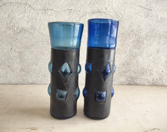 Two Vintage Mismatched Hand Blown Caged Glasses Cobalt Blue Tumblers by Felipe Derflingher, Mexican Southwestern Decor