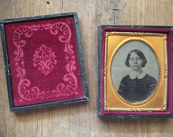 Antique Daguerreotype Case with Photo of Woman or School Girl, Victorian Photo Case