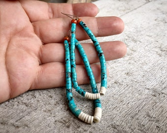 1970s Long Turquoise Heishi Earrings with White Shell Jacla, Native American Indian Santo Domingo Jewelry