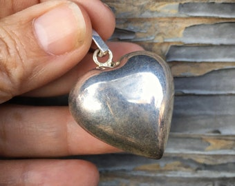 Large 925 Sterling Silver Puffy Heart Pendant, Mexican Milagro Charm Jewelry, Friendship Love