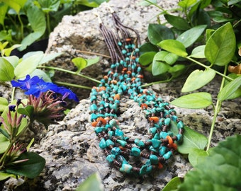 Five-Strand Turquoise Necklace with Spiny Oyster and Heishi, Santo Domingo Native American Jewelry