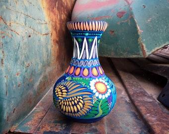 Medium-Small Colorful Pottery Vase from Guerrero Mexico, Ceramic Folk Art, Mexican Southwest Decor