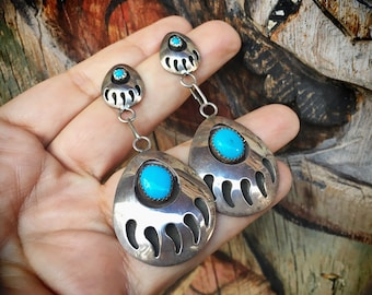Sterling Silver Turquoise Dangle Post Earrings with Bear Claw Design, Native American Indian Jewelry