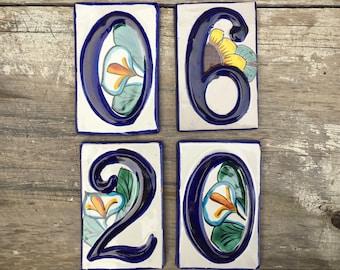 Mexican House Number Ceramic Tile, Blue White Talavera Number Plaque, Mexican Tile, Number 0, Number 6, Number 2, Address Tiles, Number Tile
