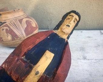 Vintage Wooden Carved Saint Statue, Mexican Latin American Religious Folk Art, Primitive Decor