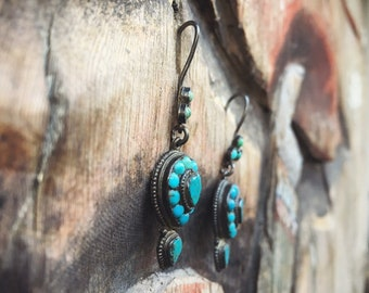 Vintage Turquoise Dangle Earrings with Small Dots from Thailand, Bohemian Jewelry