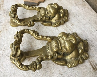 "Pair of 6.5"" Tall Antique Cast Brass Lion Door Knockers from Spanish Colonial Home in Oaxaca Mexico"