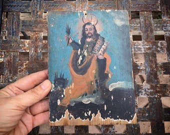 Small 19th Century Mexican Religious Painting of Saint, Antique Catholic Retablo of Santo