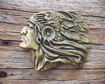 Vintage Solid Brass Indian Chief Belt Buckle for Men, Southwestern Kitsch Gift for Men