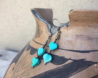 Small Turquoise Heart Earrings with Heishi, Boho Hippie Dangles, Vintage Turquoise Jewelry