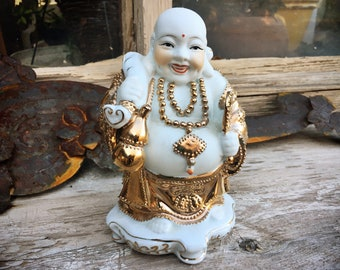 Vintage Porcelain and Gold Gilt Hand Painted Hotei Buddha Statue, Zen Altar, Good Luck Gift Buddhist