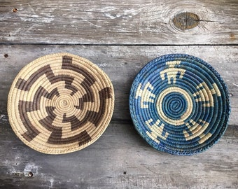 Very Small Flat Woven Basket Plate Bohemian Decor, Southwestern Decor, Native Style Coiled Basket Wall Decor, Gallery Wall Hanging