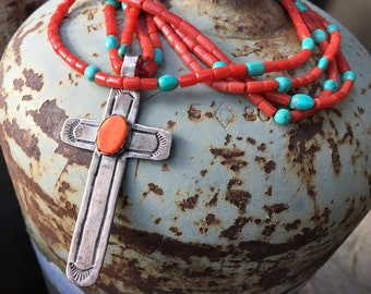 Two Strand Coral Turquoise Necklace with Sterling Silver Spiny Oyster Cross Pendant, Native American